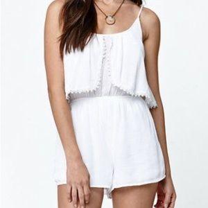 LA Hearts White Crochet Romper